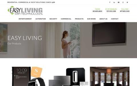 Screenshot of Products Page easyliving.net - Home Theater, Automation & Security Products | Easy Living With Technology - captured Sept. 26, 2018