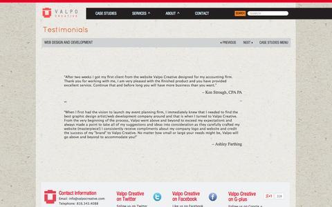 Screenshot of Testimonials Page valpocreative.com - Web Development, Website Design & Search Engine Optimization (SEO) Client Testimonials - captured Sept. 30, 2014