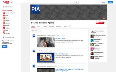 Screenshot of YouTube Page youtube.com - Peoples Insurance Agency  - YouTube - captured Oct. 22, 2014