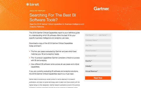 Screenshot of Landing Page birst.com - Birst | Searching for the top BI Software? - captured Aug. 26, 2016