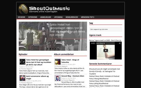 Screenshot of Home Page shoutoutmusic.dk - Dit online musikmagasin med interviews, anmeldelser og meget mere - captured Oct. 7, 2014
