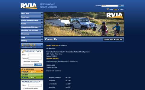 Screenshot of Contact Page rvia.org - The Recreation Vehicle Industry Association: Contact Us - captured Nov. 3, 2014