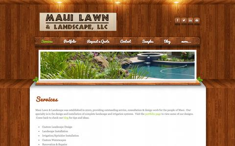 Screenshot of Home Page Services Page mauilawn.net - Maui  Lawn & Landscape,  LLC - Services - captured Oct. 6, 2014