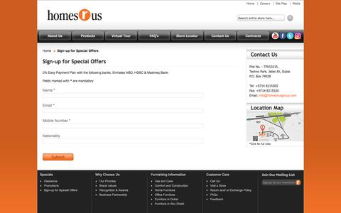 Screenshot of Signup Page homesrusgroup.com - Sign-up for Special Offers | Homes R Us - captured Sept. 18, 2016