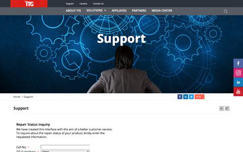 Screenshot of Support Page itgholding.com - Support - ITG Holding | Information Technology Group - captured Aug. 6, 2019