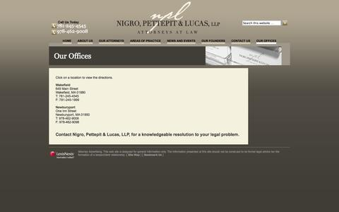 Screenshot of Maps & Directions Page npl-law.com - Our Offices in Wakefield & Newburyport, MA | Nigro, Pettepit & Lucas - captured Oct. 26, 2014