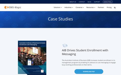Screenshot of Case Studies Page sms-magic.com - Conversational Text Messaging Case Studies | SMS-MAGIC - captured Nov. 3, 2018