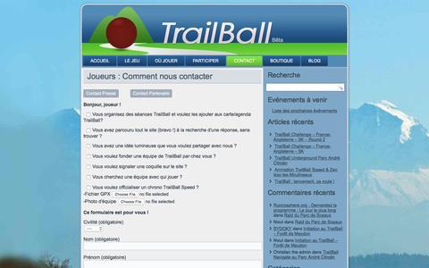 Screenshot of Contact Page trailball.net - TrailBall : Joueurs, voici comment nous contacter pour toute question - captured Dec. 5, 2015