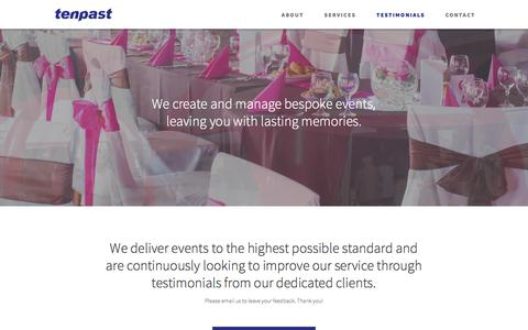 Screenshot of Testimonials Page tenpast.com - Tenpast Events | We Create & Manage Bespoke Events - captured Feb. 28, 2016