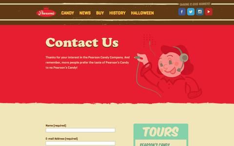 Screenshot of Contact Page pearsonscandy.com - Contact | Pearson's Candy | Pearson's Candy - captured June 5, 2016