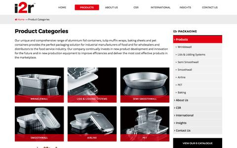 Screenshot of Products Page i2rps.com - Product Categories - i2r Packaging Solutions Limited - captured Oct. 15, 2017