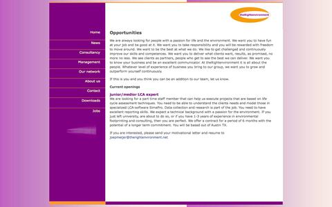 Screenshot of Jobs Page therightenvironment.net - Welcome, you have arrived at The Right Environment Ltd | Consultancy | Coaching | and more - captured Sept. 30, 2014