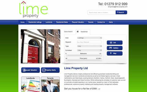 Screenshot of Home Page lime-property.com - Guaranteed Property Lettings & Sales in Bishops Stortford, Harlow - captured Oct. 2, 2014