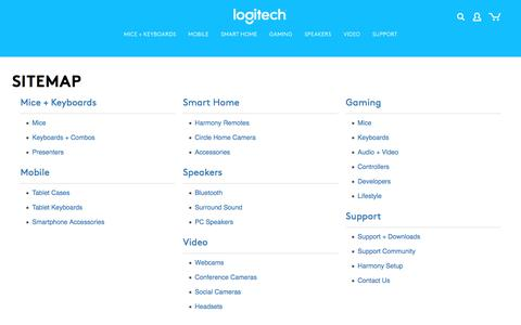 Screenshot of Site Map Page logitech.com - Sitemap - captured April 4, 2016