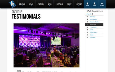 Screenshot of Testimonials Page 4wall.com - Testimonials - 4Wall Entertainment - captured July 19, 2019