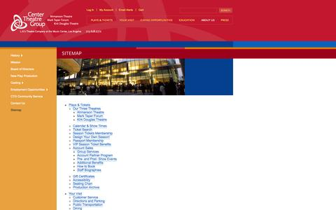 Screenshot of Site Map Page centertheatregroup.org - Sitemap | Center Theatre Group - captured Sept. 19, 2014
