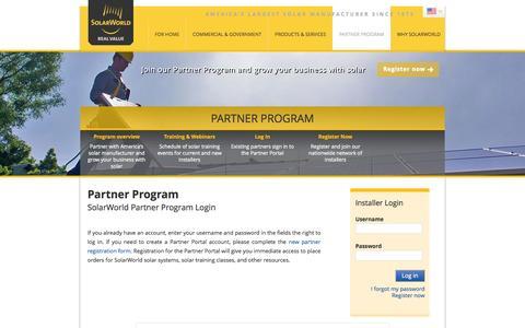 Screenshot of Login Page solarworld-usa.com - Partner Program - captured Sept. 24, 2014
