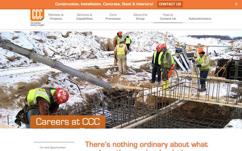Screenshot of Jobs Page cccnetwork.com - Careers at CCC   Commercial Contracting Corp. - captured Sept. 29, 2018