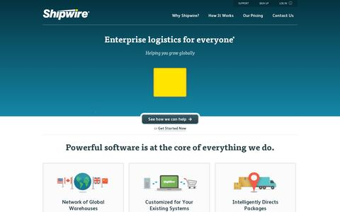 Screenshot of Home Page shipwire.com - Order fulfillment for ecommerce | Shipwire - captured July 12, 2014