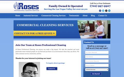 Screenshot of Jobs Page rosespro.com - Careers | Roses Professional CleaningRoses Professional Cleaning - captured Oct. 19, 2018