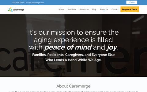 Screenshot of About Page caremerge.com - About Us - Caremerge - captured June 13, 2018