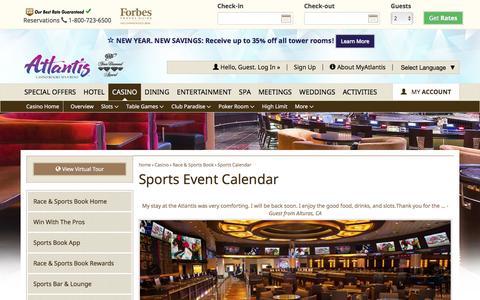 Screenshot of atlantiscasino.com - Atlantis Sports Event Calendar | Reno Sports Betting - captured Jan. 10, 2017