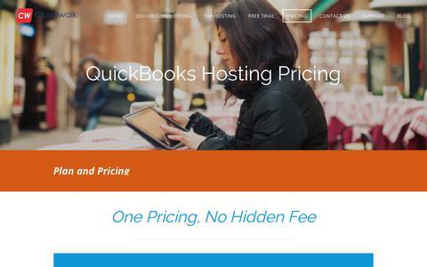Screenshot of Pricing Page cloudwalks.com - Quickbooks hosting pricing - Cloudwalk - captured Aug. 6, 2017