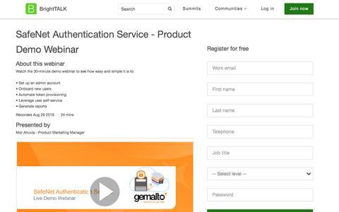 Screenshot of Landing Page brighttalk.com - SafeNet Authentication Service - Product Demo Webinar - captured Sept. 6, 2018