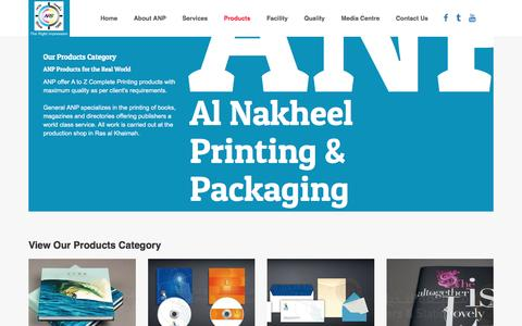 Screenshot of Products Page anps.ae - Al Nakheel Printing & Packaging. Ras Al Khaimah. United Arab Emirates. Leading Printing press company offers commercial printing, offset printing, digital printing, screen printing for public and private sector organisations in Rak, Dubai, Abudhabi,  - captured Nov. 20, 2016