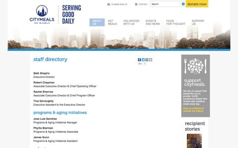 Screenshot of Team Page citymeals.org - Staff Directory - Citymeals on Wheels - Delivering Meals on wheels to seniors in need - captured Oct. 21, 2016