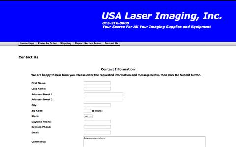 Screenshot of Contact Page usalaserimaging.com - Contact Us - captured Oct. 6, 2014