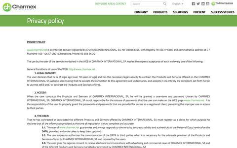 Screenshot of Privacy Page charmex.net - Charmex Internacional - captured Sept. 27, 2018