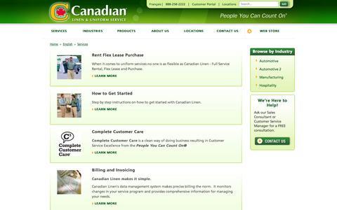 Screenshot of Services Page canadianlinen.com - Uniform Services - Canadian Linen - captured Oct. 1, 2014
