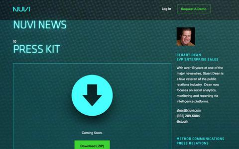 Screenshot of Press Page nuvi.com - NUVI - Real-Time Social Intelligence - captured Oct. 29, 2014