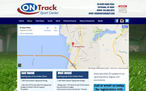 Screenshot of Maps & Directions Page ontracksport.com - Contact OnTrack Sport Center - Tarrytown, NY | 914-909-2974 - captured Oct. 26, 2014