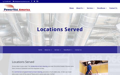 Screenshot of Locations Page powervacamerica.com - Air Duct Cleaning for your home and office - Power Vac America - captured Nov. 10, 2016