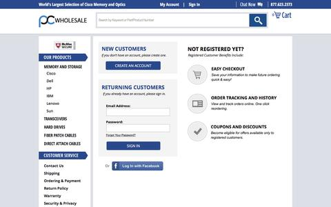 Screenshot of Login Page pc-wholesale.com - PC Wholesale - captured July 9, 2016