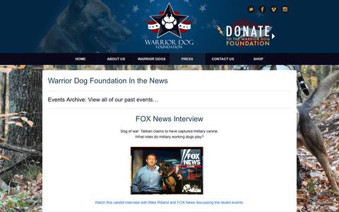 Screenshot of Press Page warriordogfoundation.org - Warrior Dog Foundation In the News - - captured Aug. 16, 2016