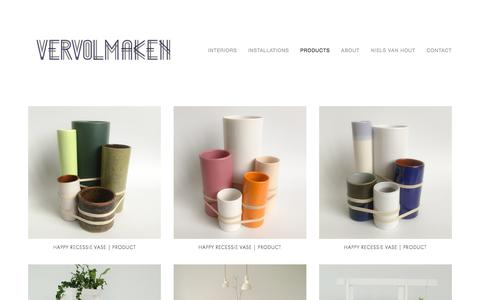 Screenshot of Products Page vervolmaken.com - interiors-VERVOLMAKEN, installations-VERVOLMAKEN, products-VERVOLMAKEN, about-VERVOLMAKEN, contact-VERVOLMAKENProducts — VERVOLMAKEN - captured Aug. 19, 2016