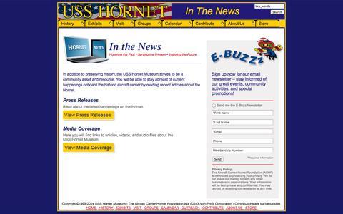 Screenshot of Press Page uss-hornet.org - In The News - Aircraft Carrier USS Hornet Museum - captured Oct. 7, 2014