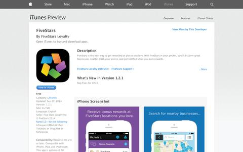 Screenshot of iOS App Page apple.com - FiveStars on the App Store on iTunes - captured Oct. 22, 2014