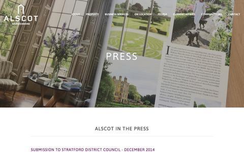 Screenshot of Press Page alscot.co.uk - Press Ń Alscot  - An Award-Winning Estate - captured Dec. 24, 2015