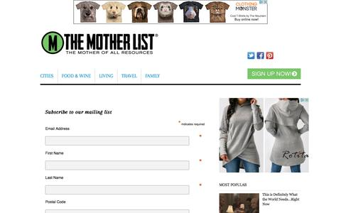 Screenshot of Signup Page themotherlist.com - Sign Up - The Mother List - captured Oct. 28, 2017