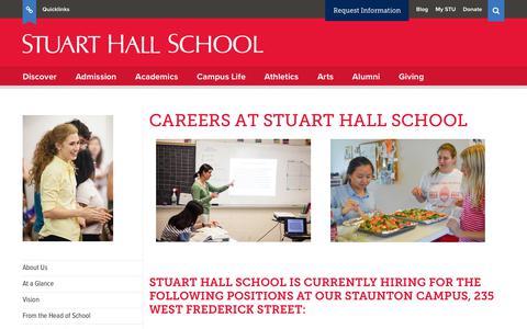 Screenshot of Jobs Page stuarthallschool.org - Careers   Stuart Hall School - captured Nov. 10, 2017
