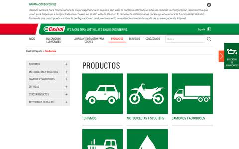 Screenshot of Products Page castrol.com - Productos | Castrol - Aceite de motor, aceites de motor, aceite sintéticos, lubricantes y líquidos de transmisión - captured Oct. 28, 2017