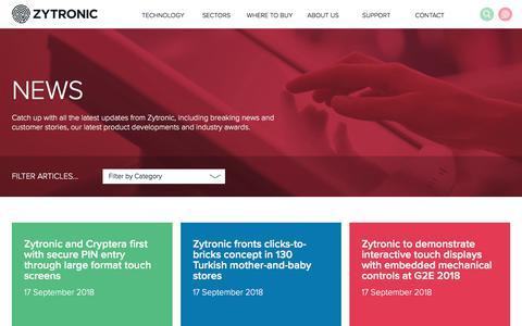 Screenshot of Press Page zytronic.co.uk - News - Zytronic UK - captured Sept. 20, 2018