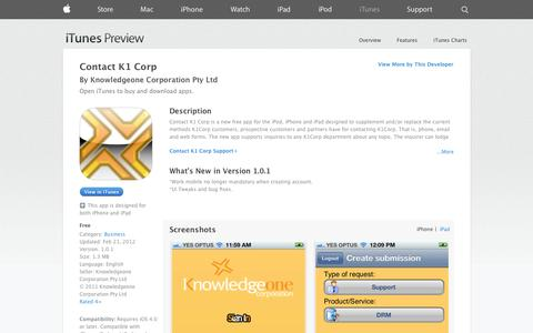 Screenshot of iOS App Page apple.com - Contact K1 Corp on the App Store on iTunes - captured Oct. 22, 2014