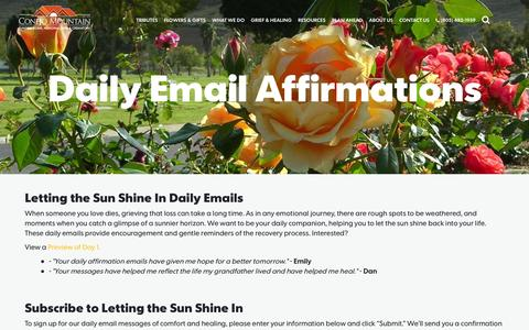 Screenshot of Signup Page conejomountain.com - Daily Email Affirmations | Conejo Mountain Funeral Home, Memorial Park & Crematory - captured Nov. 2, 2014