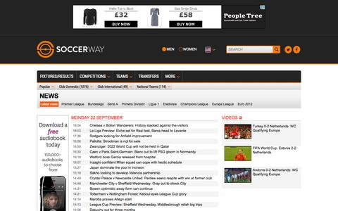 Screenshot of Press Page soccerway.com - Soccer news, interviews and stories from around the world - Soccerway - captured Sept. 22, 2014