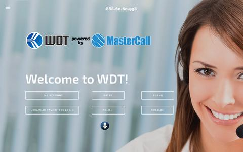 Screenshot of Home Page mywdt.com - World Discount Telecommunications (WDT)888.60.60.938 - captured Feb. 15, 2016